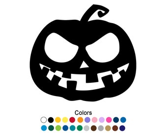 Scary Halloween Pumpkin Decal Scary Pumpkin Sticker Outdoor Vinyl Custom Sticker Halloween Decorations Kitchen Decor Jack O Lantern D1127