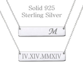 925 Sterling Silver bar necklace,  Personalized Bar Necklace,  Initial Necklace, Monogram Necklace, Horizontal Bar Necklace