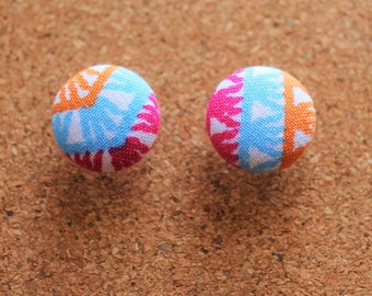 18mm Fabric Covered Stud Earrings - Surgical Steel - Aqua, Pink and Orange