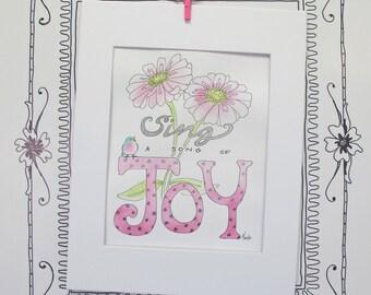 Joy Watercolor Illustration Art Quote