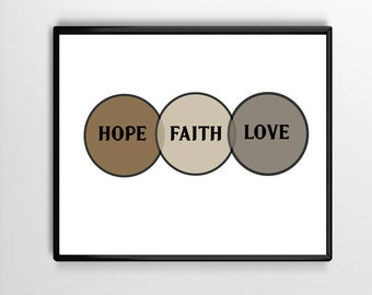 Hope, Faith, Love Digital Print, Wall Art,Typography,Gift,Inspiration,Home, Office,Word Art,Framed Art