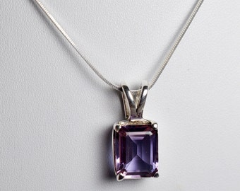 100% Color Change Lab Created Alexandrite Pendant with 925 Solid Sterling Silver Italian Snake Chain