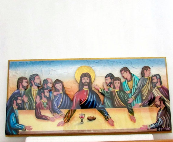 items similar to the last supper wall art 3 dimensional. Black Bedroom Furniture Sets. Home Design Ideas