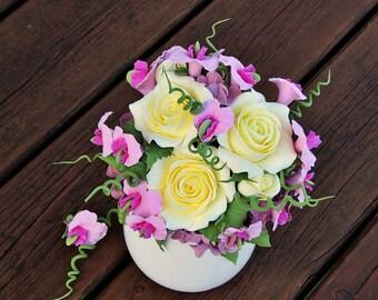 Flower arrangement , Vase with flowers , Home Decoration , Centerpiece, decorative vase , Fior di polymer clay , Flowers handmade