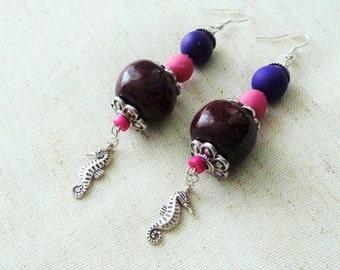 Earrings ethnic, beads ceramic, bordeaux, polymer clay beads, purple, roses, fuchsia