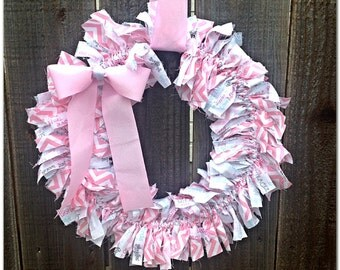 Baby Girl Wreath, Pink Wreath, Baby Girl Shower Wreath, Baby Girl Shower Decor, Baby Girl Room Decor, Nursery Wreath, Baby  Girl Door Hanger