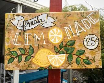 Hand painted wooden sign, fresh lemonade, floral, lemonade stand, beverage station, beverage bar, lemons, hand lettered, vintage style