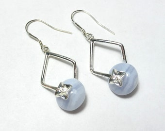 Chalcedony Earrings, light blue Earrings, Gemstone Earrings , Sterling Silver,