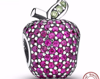 APPLE Bead / Charm 925 Sterling Silver Authentic fit Pandora Bracelet