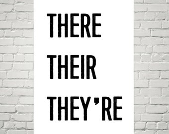 There Their They're - 12x18 Poster