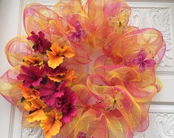 Summer flowers and butterflies