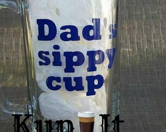 Dad Beer mug  Dad's sippy cup funny 26 oz beer stein with blue vinyl by kup it