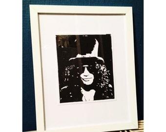 Slash / Guns and Roses // Hand Made Original Artwork // Lino Print Framed