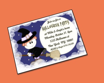 Printable Halloween invitations,  Personalized Party invitations, Halloween party invitations kids, Adult halloween party.