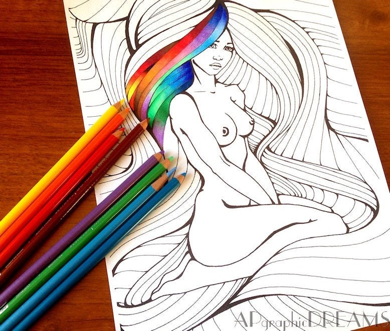 Coloring page with female nude. Coloring Woman with long hair.