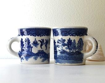 vintage blue willow Japanese nasco mugs oriental coffee mugs japan tea mugs coffee cups