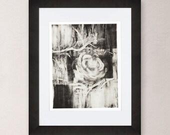 Flower Art Print, Timeless Rose, Art Print, Black and White