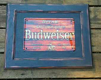 Budweiser wood and tin sign