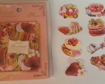 "Q-lia Booklatte ""Desserts"" sticker flakes, 64 pieces strawberry bunny desserts antique, sticker flake lot, kawaii stickers flakes"