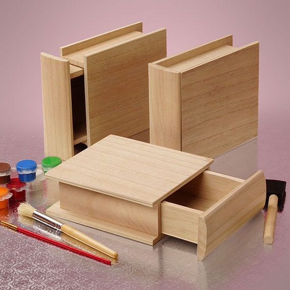 new wooden box unfinished paulownia wood open like small. Black Bedroom Furniture Sets. Home Design Ideas