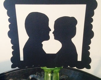 Custom silhouette wedding cake topper personalized cake topper