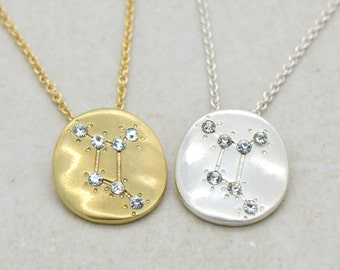 Hand Made Cancer Necklace - 18k Gold Plated or Sterling Silver Plated Constellation Pendant Necklace - Zodiac Charm and Chain