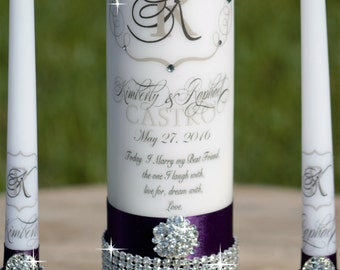 Rhinestone Purple Unity youCandle Set, Wedding Candle, Ceremony Candle, Personalized Candle, Monogrammed Candle, Candle Holders Included