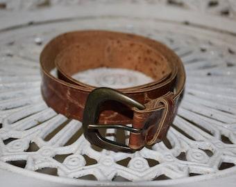 Vintage Brown Faux Crocodile Skin Leather Belt