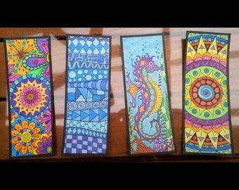 4 Colouring Bookmarks - Printable, with 4 FREE BONUS reverse sides