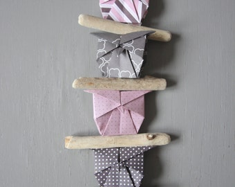 Owl Driftwood Mobile Origami Chiyogami ornament wall decoration children room pink birthday girl gift baby bird home luck