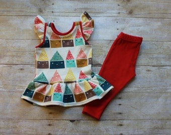 Flutter Sleeve Dress 0-3 Month to 6T & Leggings