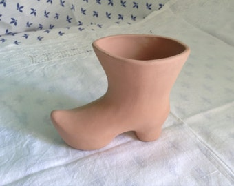 Hand Made Clay Shoe. Rustic Style Ceramic Figurine