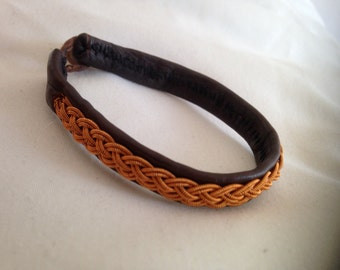 Tin thread embroided reindeer skin bracelet 3-braid - custom made