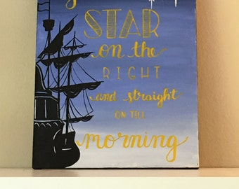Second Star on the Right and straight on till morning painting // Peter Pan Decor