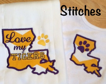 Love My Tigers Burp Cloth and Bib Set