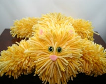 Yellow Tabby Yarn Cat Collectible, Soft Yellow Tabby Yarn Kitty with Green Cat Eyes, Handmade Yarn Pom Pom Cat, Stuffed Animal Alternative