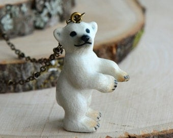 Hand Painted Porcelain Polar Bear Necklace, Antique Bronze Chain, Vintage Style Alaska, Ceramic Animal Pendant & Chain (CA003)
