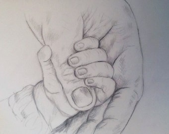 Original artist drawing baby hand
