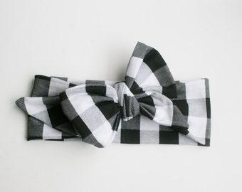 Baby headwrap, baby headband, toddler headband, baby bows, black and white plaid