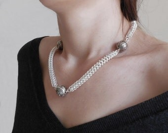 Necklace with ethnic metal beads | Chainmail necklace European 4-in-1 weave