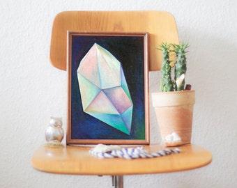 Crystal Illustration, Original Drawin, Oil Pastels, Wall Art, Wall Decor - BLUE CRYSTAL