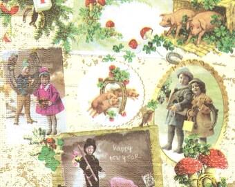 4 Paper napkins for decoupage, Christmas vintage decoupage napkins, collage and mix media paper, serviette, winter napkin, christmas g078