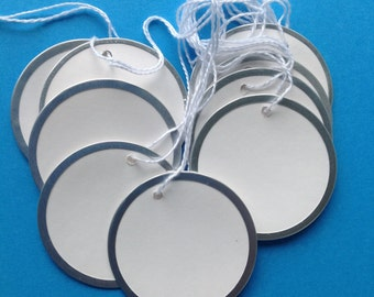 9 metal rim tags, destash supply, round paper tags 2 inches, circle gift tags, blank paper tags