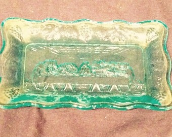 """Vintage Blue Indiana Glass 5 3/4""""  The Last Supper Dish Plate"""
