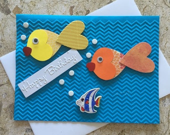 Handmade fishes birthday card