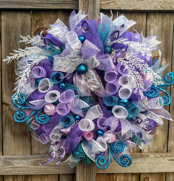 Red Turquoise Not Just For Holiday Decor: Purple Christmas Wreath Teal Christmas Wreath Turquoise