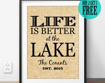 Life Is Better At The Lake, Personalized Family Name, Burlap Print, Lake House Decor, Rustic Home Decor, Wall Art, Housewarming Gifts, CM50