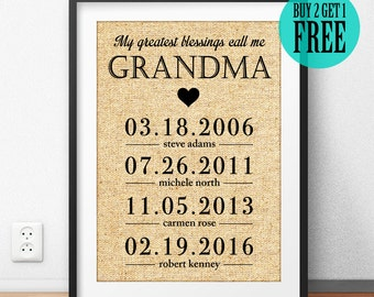 My Greatest Blessings Call Me Grandma, Grandmother Gift, Burlap Print, Rustic Home Decor, Wall Art, Housewarming, Unique Birthday Gift, CM54