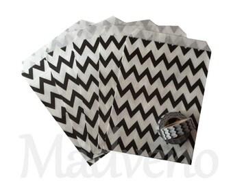 Lot of 10 bags paper black herringbone