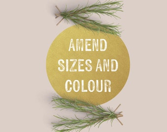Amend Sizes & Colours - For Use With Invitation Sets
